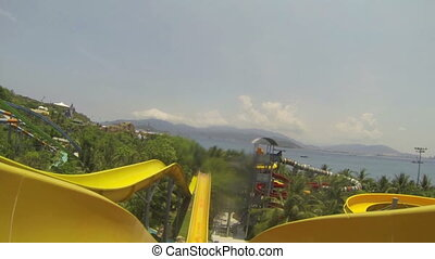 the water slide in aqua park