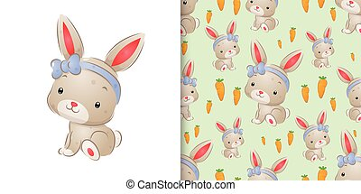 The watercolor inspiration of the cute rabbit with the ribbon head band