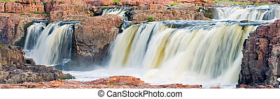 Falls Park - The waterfall in Falls Park in Sioux Falls,...