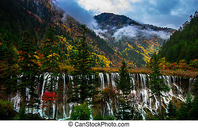 The Waterfall in Jiuzhaigou, China
