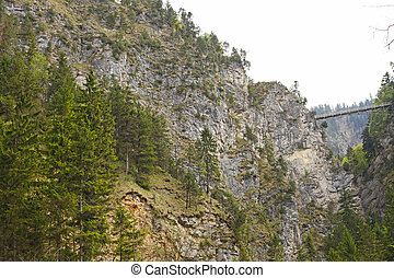 """The waterfall in the canyon  near the castle """"Neuschwanstein"""" in Bavaria"""