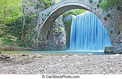 the waterfall of Palaiokaria in Trikala Thessaly Greece - ...