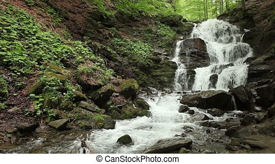 The waterfall with clear water