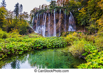 The waterfalls in the Plitvice park