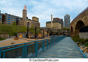 The Waterfront Park Near St Anthony Falls in Minneapolis Minnesota
