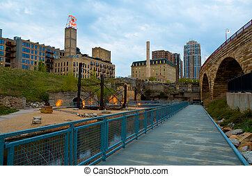 Minneapolis Minnesota - The Waterfront Park Near St Anthony...