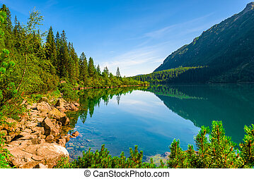 the watery surface of a beautiful lake in the Tatras Sea Eye