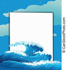 The wave and an empty sheet - Illustration of the wave and...