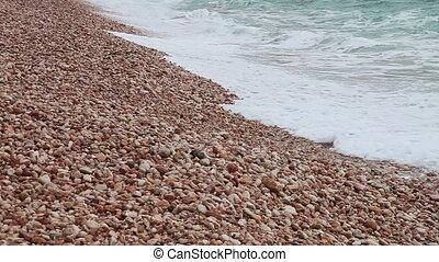 The waves on a beach