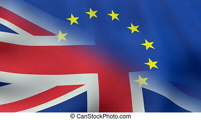 The waving flags of United Kingdom and European Union combined