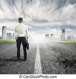 The way for the future - Businessman follow the way for...