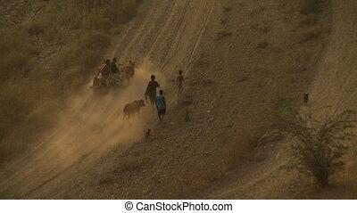 The way home on an arid road - A steady, medium shot of a...