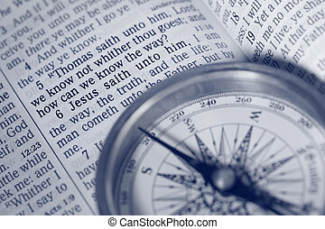 The way of Life - compass, bible and Jesus words to disciple...