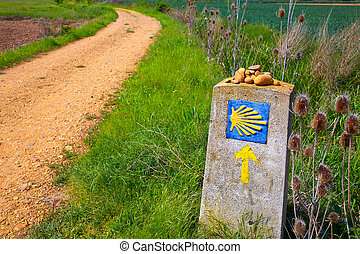 The Way of Saint James shell sign and arrow - The Way of...