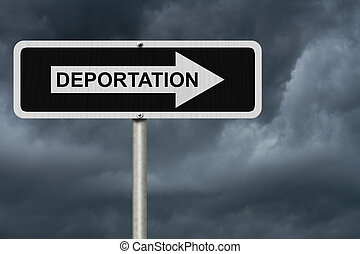 The way to Deportation, Black and white street sign with word Deportation with stormy sky background