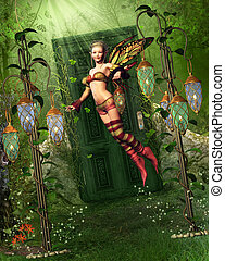 A fairy flies into the fairyland! The Fairyland is located behind a door in the forest.