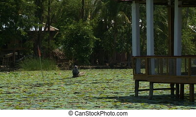 The way to the house on the water - A steady, medium shot of...
