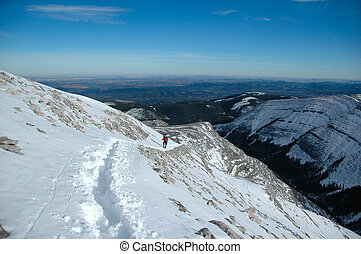 Climbing to the top of Moose mountain(alberta, canada) in winter.