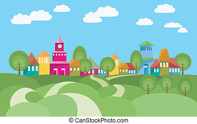 The Way To Village - Cartoon illustration with rural ...