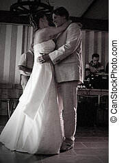 The wedding dance - Bride and groom in an intimate dance