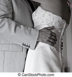 The wedding dance - Bodyshot of a bride and groom dancing