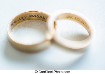 The wedding rings close up