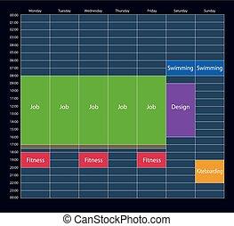 The week planner mockup of tasks for business.