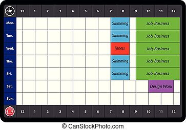 The week time table mockup for business and job.