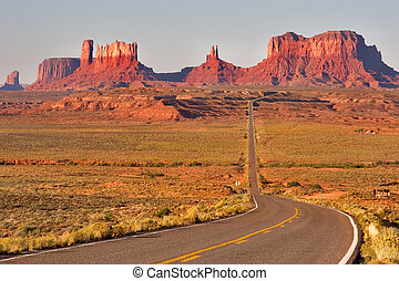 The well-known Valley of Monuments. - Highway crossing the...