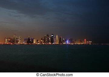 The West Bay Doha Skyline at Dusk