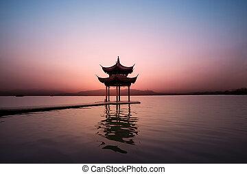 pavilion at nightfall, the west lake in hangzhou, China
