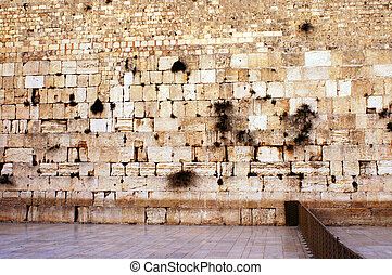 A rear photo of the western wailing wall the Kotel Empty at night in Jerusalem, Israel.