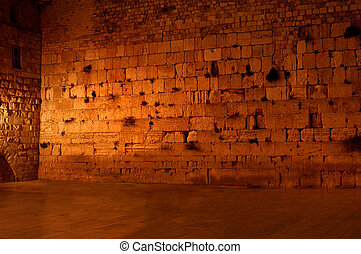 The western wailing wall the Kotel Empty at night - A rear...