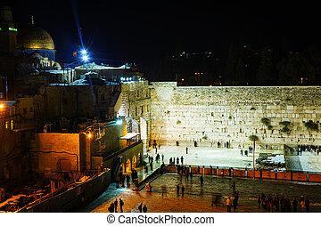 The Western Wall in Jerusalem, Israel in the night