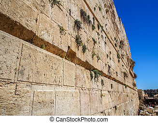 The Western Wall of the temple close-up, Jerusalem, Israel
