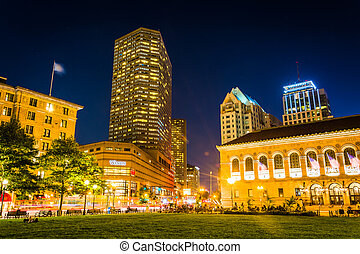 The Westin and Public Library at night, at Copley Square in Bost