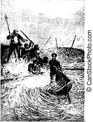 The whale nearly capsized, vintage engraving.