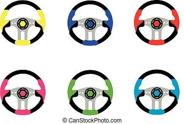 the wheel - steering wheel for car in vector on white...