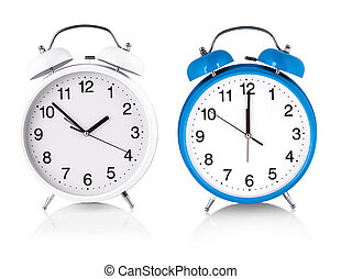 white and blue Alarm clock isolated on white background