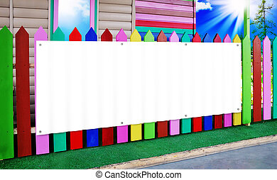 The white banner on the wooden fence color