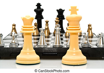 the white begin - gold and silver chess on a white...