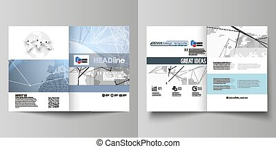 The white colored vector illustration of editable layout of two A4 format modern covers design templates for brochure, flyer, report. World globe on blue. Global network connections, lines and dots.