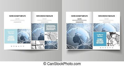 The white colored vector illustration of the editable layout of two A4 format modern covers design templates for brochure, flyer, report. World globe on blue. Global network connections, lines and dots.