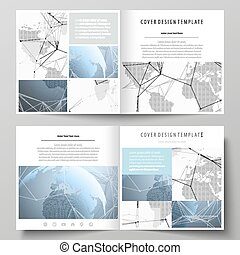 The white colored vector illustration of the editable layout of two covers templates for square design brochure, flyer, booklet. World globe on blue. Global network connections, lines and dots.