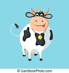 The white cow with black spots on a blue background.