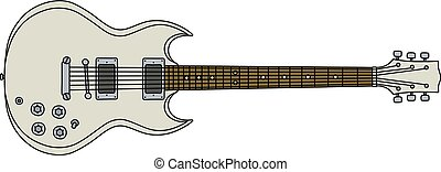 The white electric guitar