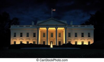 The White House At Night - The White House lit up at night