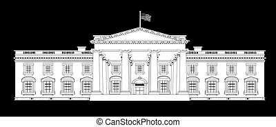 Depiction of the White House home to the United States President over a black background