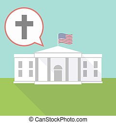 The White House with a christian cross