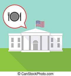 The White House with a dish, knife and a fork icon